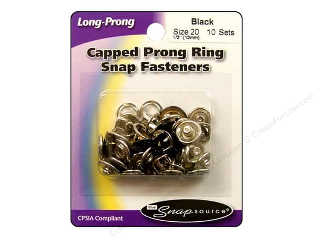 Snapsource Capped Prong Ring Snap Fasteners Size 20 Black