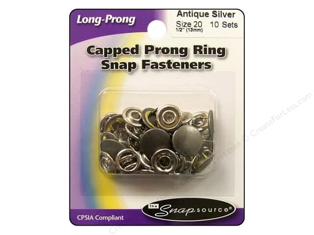 Snapsource Capped Prong Ring Snap Fasteners Size 20 Antique Silver