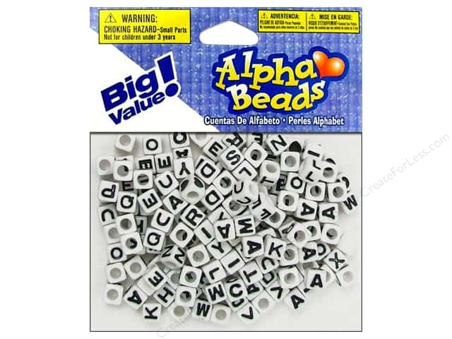 Darice Alphabet Beads 6 mm Cube White with Black Letters 160 pc.