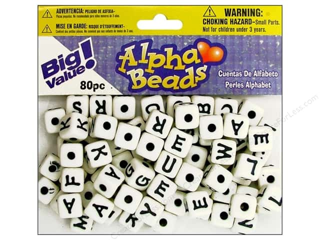 Darice Alphabet Beads 12 mm Cube White with Black Letters 80 pc.