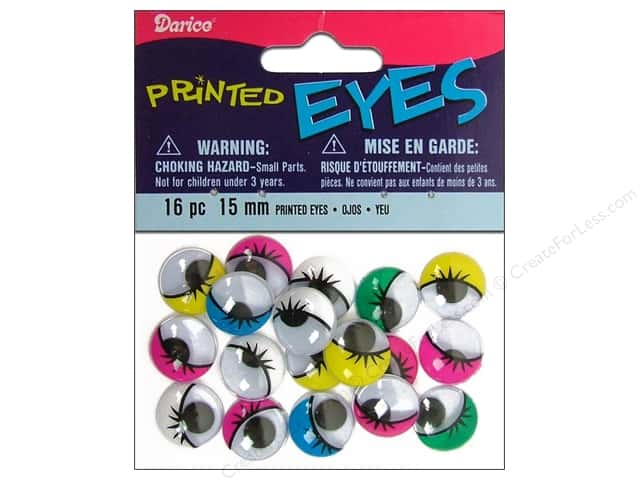 Darice Googly Eyes Paste-On 15 mm Multi Printed 16 pc.
