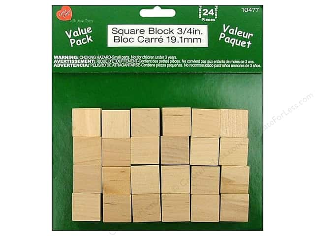 Lara's Wood Square Block Value Pack  3/4 in. 24 pc.