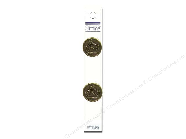 "Slimline Buttons 7/8"" Gold with Crest 2pc"