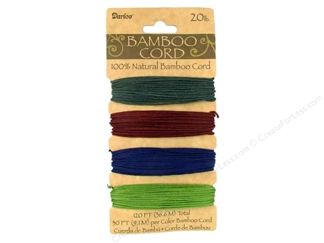 Darice Bamboo Cord Set 1 mm Jewel Colors 120 ft.