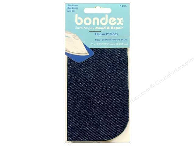 Bondex Iron On Patch 5 x 5 1/4 in. Blue Denim 4 pc.