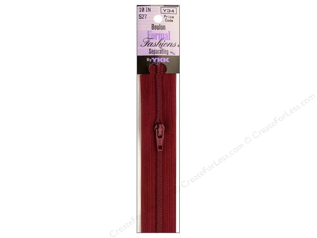 YKK Beulon Formal Fashions Separating Zipper 10 in. Bordeaux