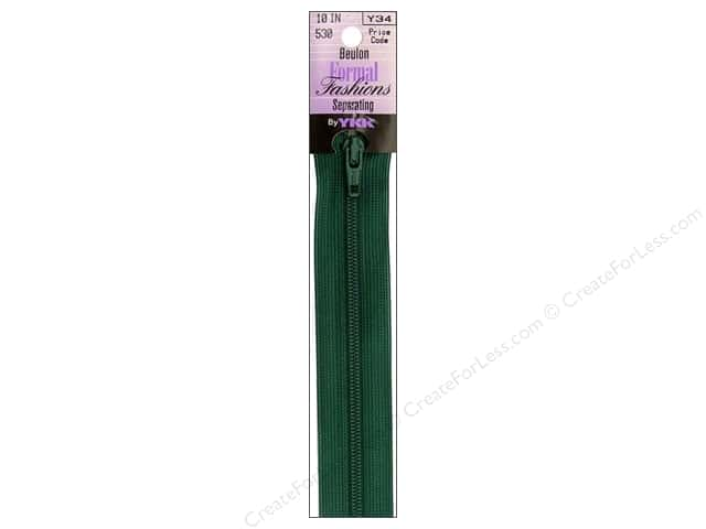 YKK Beulon Formal Fashions Separating Zipper 10 in. Dark Green