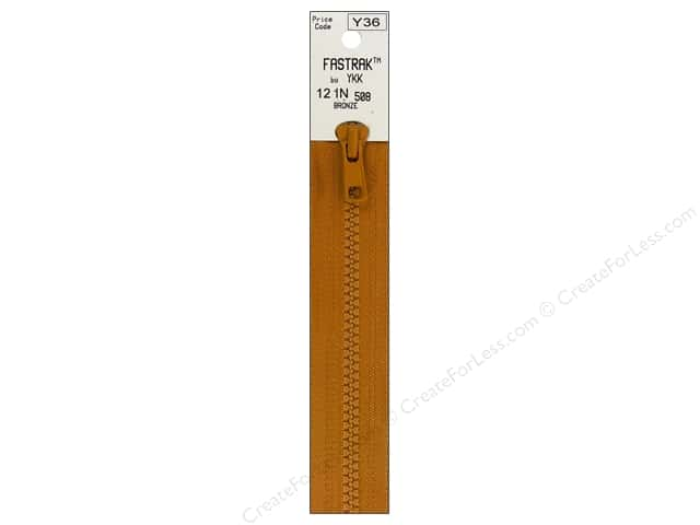 YKK Fastrak 1-Way Separating Zipper 12 in. Bronze