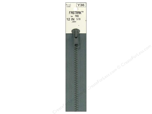 YKK Fastrak 1-Way Separating Zipper 12 in. Grey