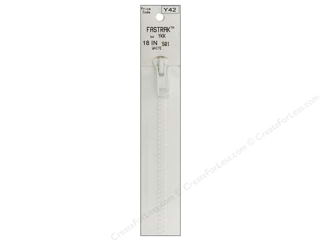 YKK Fastrak 1-Way Separating Zipper 18 in. White