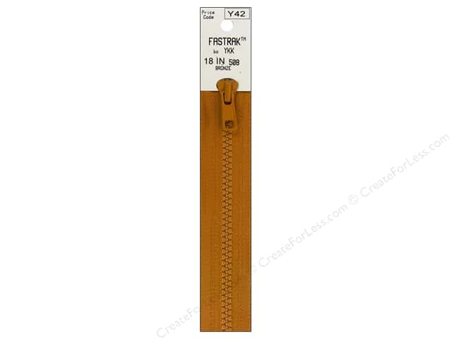 YKK Fastrak 1-Way Separating Zipper 18 in. Bronze