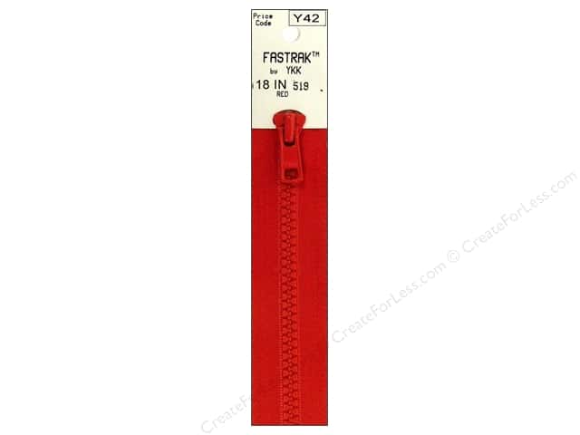 YKK Fastrak 1-Way Separating Zipper 18 in. Red