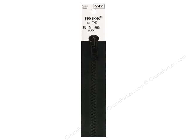 YKK Fastrak 1-Way Separating Zipper 18 in. Black