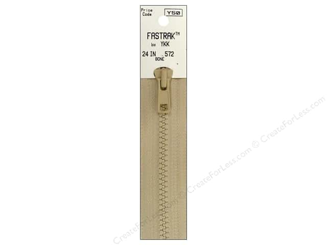 YKK Fastrak 1-Way Separating Zipper 24 in. Bone