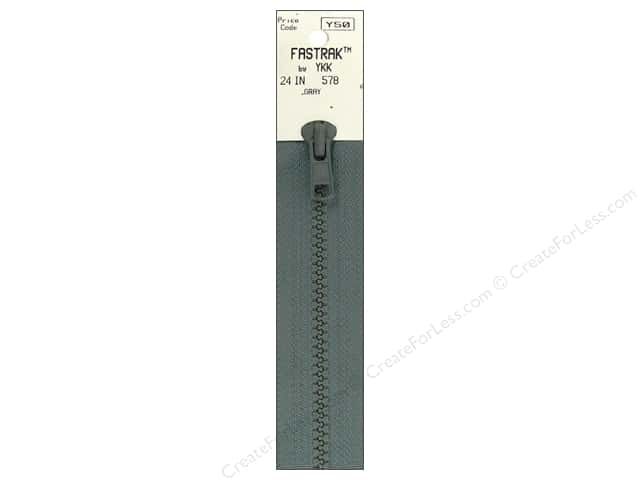 YKK Fastrak 1-Way Separating Zipper 24 in. Grey