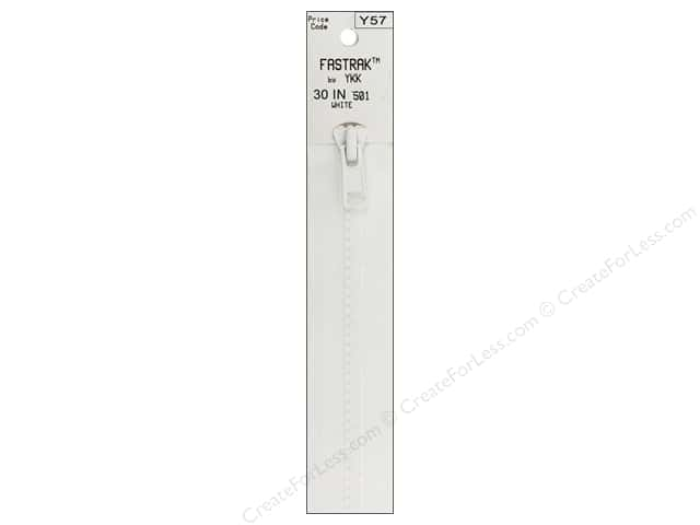 YKK Fastrak 1-Way Separating Zipper 30 in. White