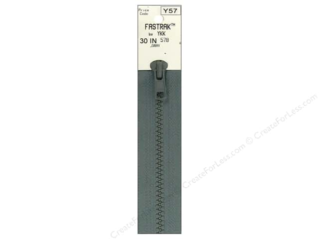 YKK Fastrak 1-Way Separating Zipper 30 in. Grey