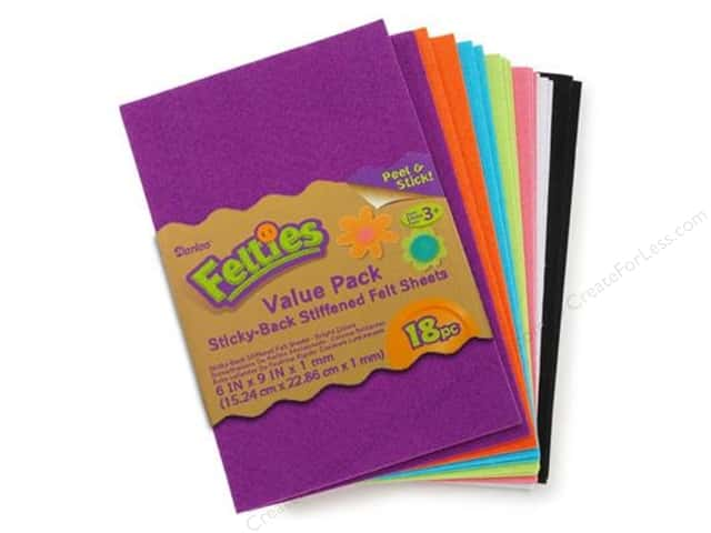 Darice Felties Felt Stickers 6 x 9 in. Sheet 18 pc. Bright