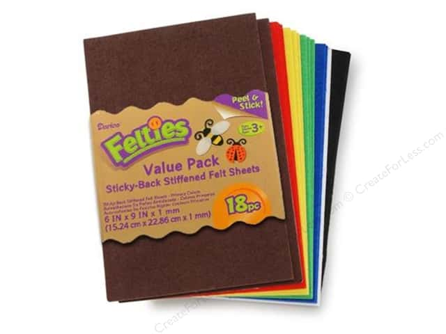 Darice Felties Felt Stickers 6 x 9 in. Sheet 18 pc. Primary