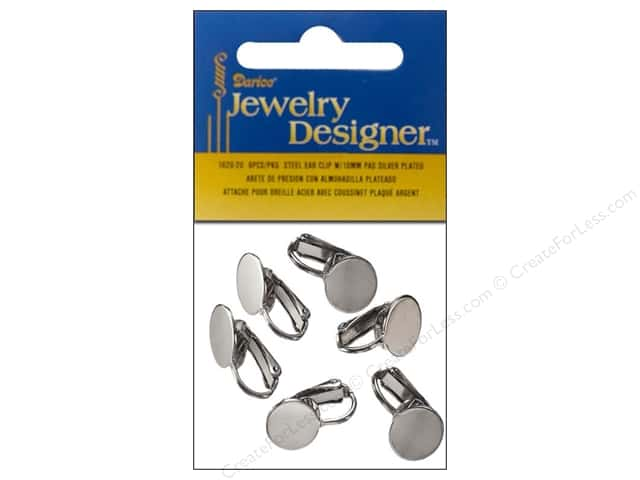 Darice Jewelry Designer Earring Ear Clip 10mm Pad Silver Plated 6pc