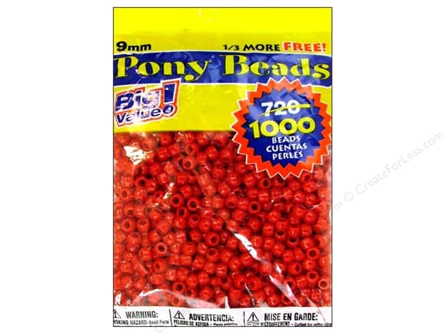 Darice Pony Beads 6 x 9 mm 1000 pc. Red