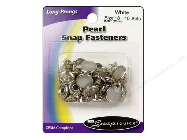 Snapsource Pearl Snap Fastener Size 18 Pearl White