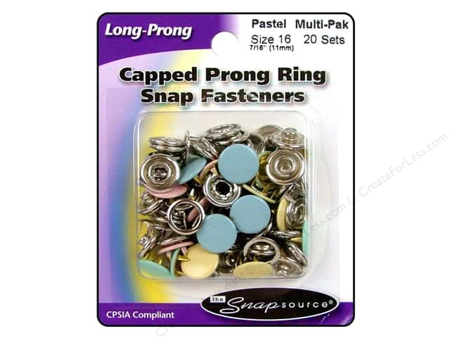 Snapsource Capped Prong Ring Snap Fasteners Size 16 Pastel