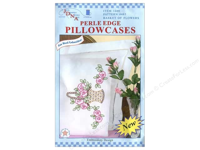 Jack Dempsey Pillowcase Perle Edge Basket Of Flowers