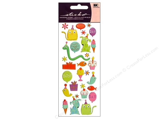 EK Sticko Stickers Puffy Party Animals