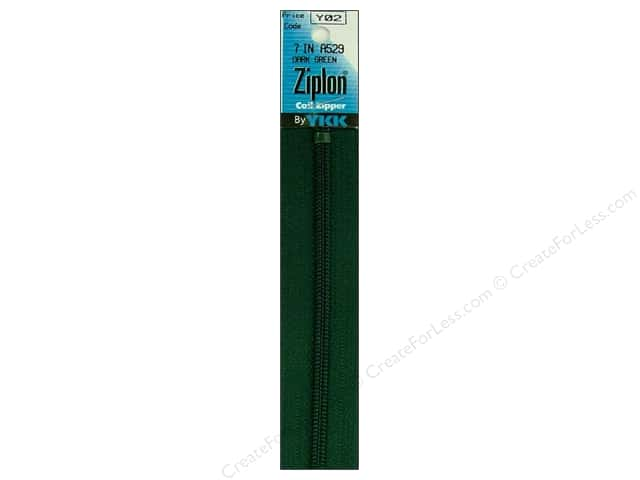 YKK Ziplon Coil Zipper 7 in. Dark Green