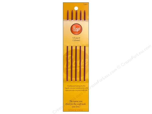 Boye Double Point Knitting Needles Aluminum 7 in. Size 0 (2.0 mm)
