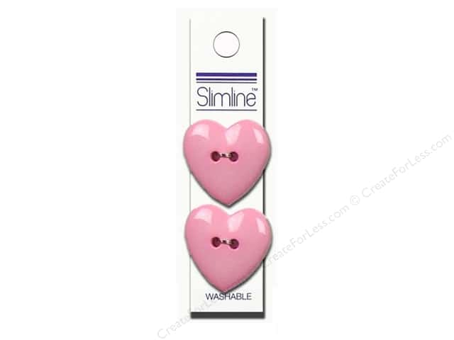 Slimline 2 Hole Buttons 1 in. Heart Pink 2pc