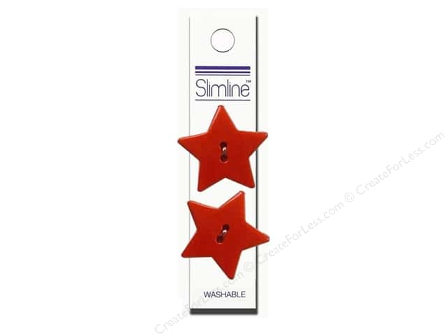 Slimline 2 Hole Buttons 1 1/8 in. Star Red 2pc