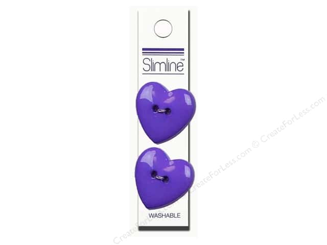 Slimline 2 Hole Buttons 1 in. Heart Purple 2pc