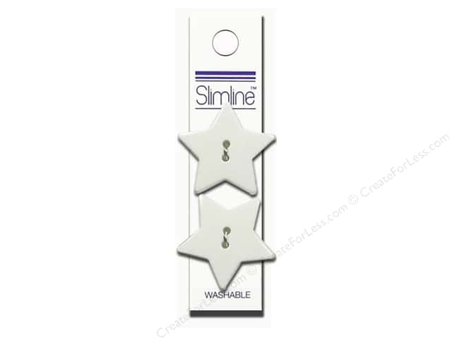 Slimline 2 Hole Buttons 1 1/8 in. Star White 2 pc.