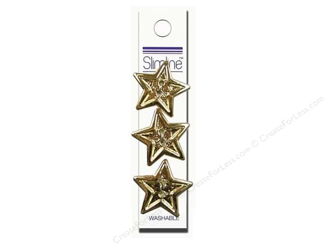 Slimline 2 Hole Buttons 7/8 in. Star Bright Gold 3 pc.