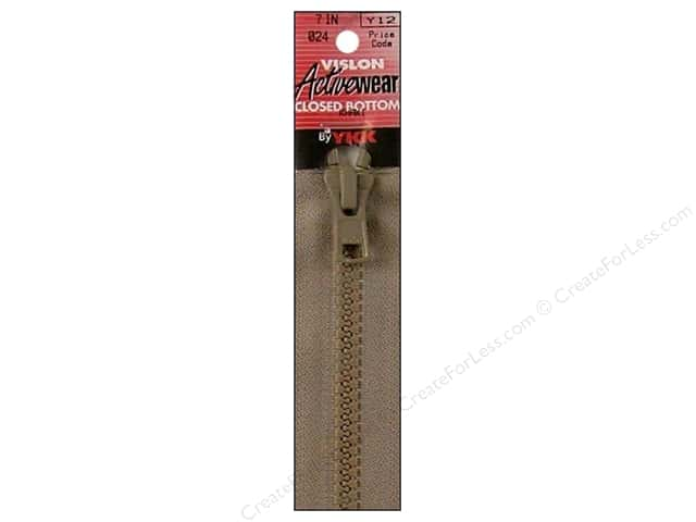 "YKK Vislon Closed Bottom Zipper 7"" Khaki"