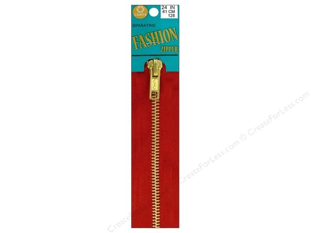 Coats Fashion Brass Separating Zipper 24 in. Red