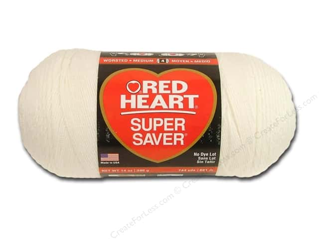 Red Heart Super Saver Jumbo Yarn 744 yd. #316 Soft White