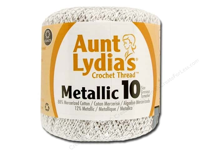 Aunt Lydia's Metallic Classic Cotton Crochet Thread Size 10 100 yd. White/Silver