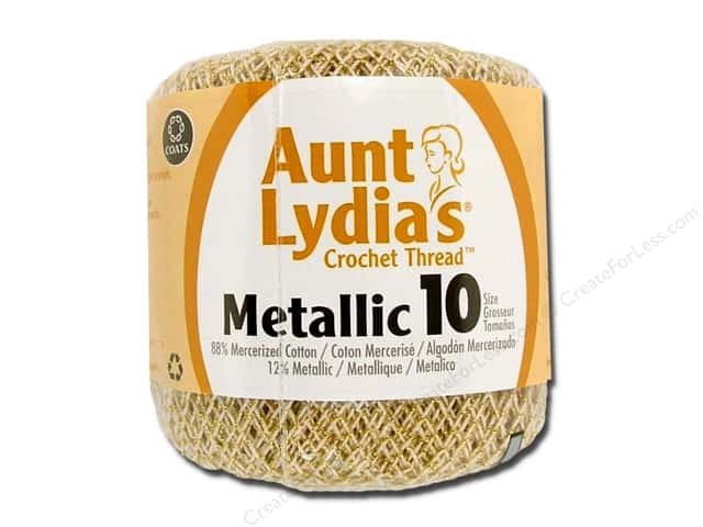 Aunt Lydia's Metallic Classic Cotton Crochet Thread Size 10 100 yd. Natural/Gold