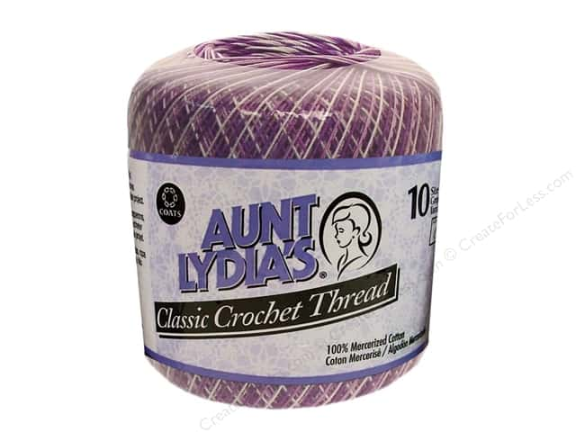 Aunt Lydia's Classic Cotton Crochet Thread Size 10 300 yd. Shaded Purples