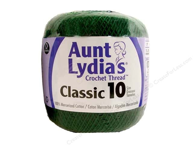Aunt Lydia's Classic Cotton Crochet Thread Size 10 350 yd. Forest Green