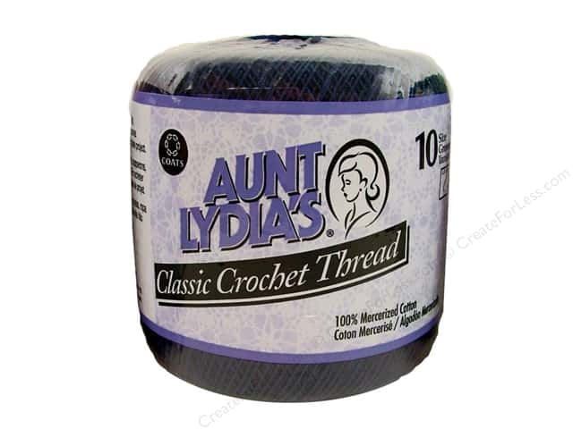 Aunt Lydia's Classic Cotton Crochet Thread Size 10 350 yd. Navy