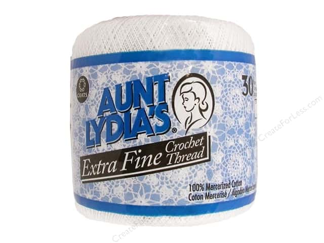 Aunt Lydia's Extra Fine Crochet Thread Size 30 #201 White