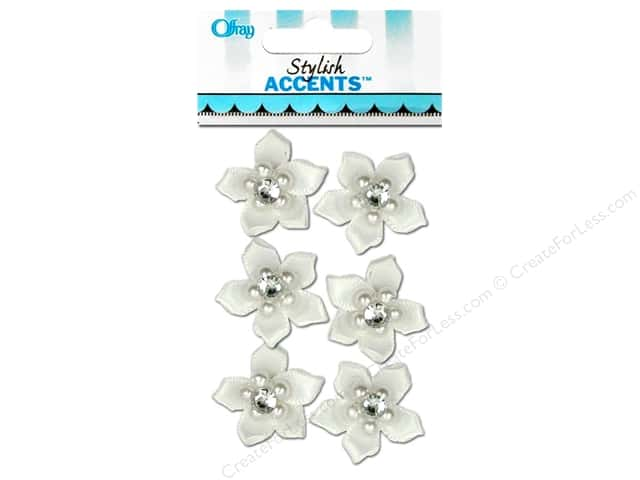 Offray Ribbon Accent 5 Petal Flower & Gem White 6pc