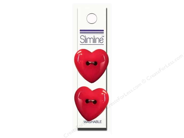 Slimline 2 Hole Buttons 1 in. Heart Fuchsia 2pc