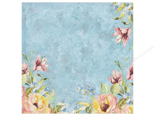 K&Company 12 x 12 in. Paper Watercolor Bouquet Collection Blue Foil Flower (12 sheets)