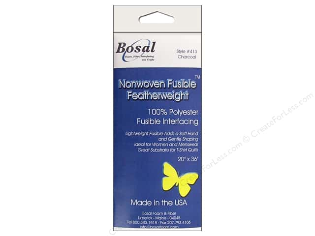 Bosal Interfacing Non Woven Fusible Feather Weight 20 x 36 in. Charcoal