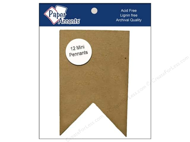 Paper Accents Chipboard Pennants 2 1/2 x 4 in. Mini Two Point 12 pc. Natural